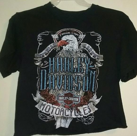 efdfba75abf Harley-Davidson Tops | Womens Harley Davidson Crop Tshirt | Poshmark